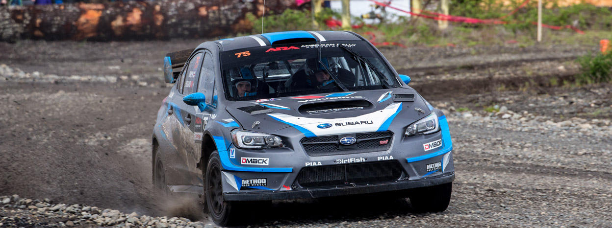 Subaru Rally Team USA Drivers David Higgins and Travis Pastrana top Olympus Rally Podium.